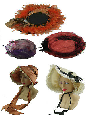 Edwardian Victorian Job Lot Of 8 Hats - Feather - Bonnets - Vintage - Theatrical
