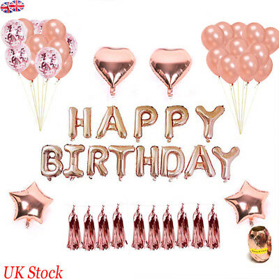 Happy Birthday Balloon Banner Bunting Rose Gold Foil Balloons Set Party Decor