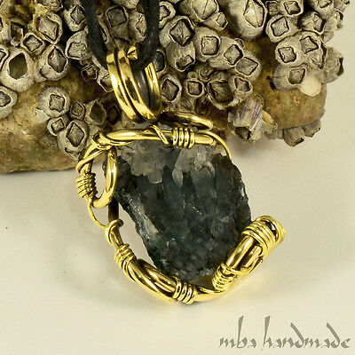 Moss Quartz Crystal Cluster Necklace Antiqued Brass Wire Wrapped Vintage Jewelry
