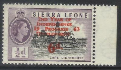 SIERRA LEONE 1963 2nd ANNIV INDEPENDENCE SG259a MNH MARGINAL WITH SMALL 'c' FLAW