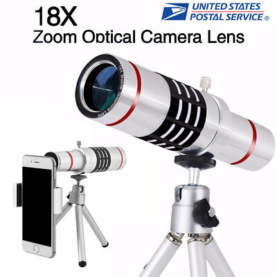 18x Optical Zoom Telescope Camera Lens Kit Tripod For Cell Phone Smartphone US