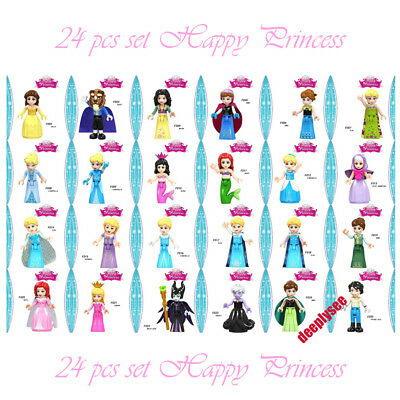 Happy Princess Belle Beauty and the Beast Prince Anna Elsa minifigures Fits Lego