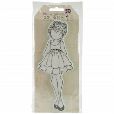 """Julie Nutting Mixed Media Cling Rubber Stamps-doll W/ruffle Dress 3""""x7.75"""""""