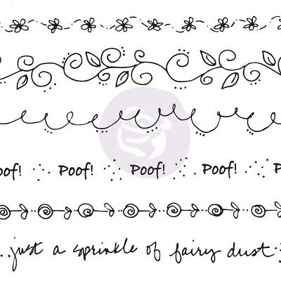 Julie Nutting Mixed Media Cling Rubber Stamps-border-flower, Flourish, Word