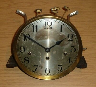 German Westminster Chime wall clock movement with chime rods - for spares