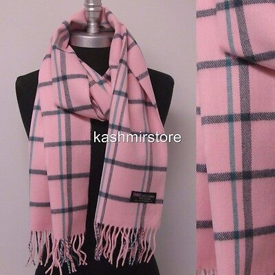 New 100%CASHMERE SCARF Check Plaid Pink teal Scotland Soft Warm Wool Wrap