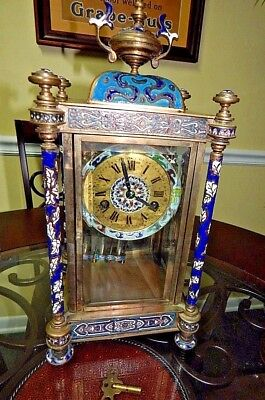 Antique French Crystal Regulator Cloisonne Champleve Palace Clock Mercury Rare