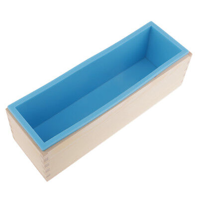 Rectangle Silicone Soap Molds with Wooden Box DIY Toast Loaf Mold 1.2kg Blue