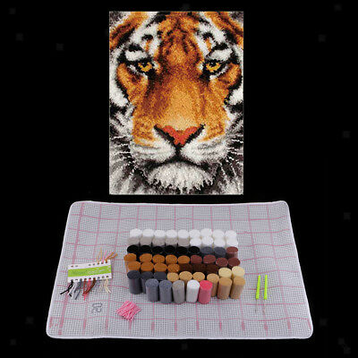 Tiger Latch Hook Rug Kits DIY Needlework Unfinished Cushion Carpet Tapestry
