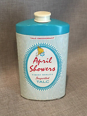 Vintage APRIL SHOWERS Imported Talc Powder - Bath, Vanity Tin Can Advertising