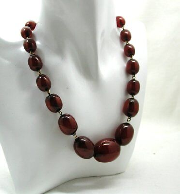 Vintage Lovely Chunky Fossilized Cherry Amber Bead Necklace