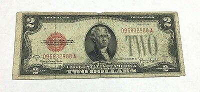 RARE United States 1928 G $2 Dollar Note Red Seal Currency Serial # D95832988A