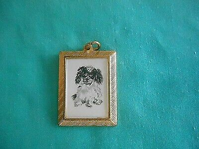 COCKER SPANIEL (spotted)  - hand painted Charm in gold tone frame #003