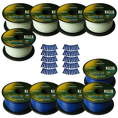 Harmony Car Primary 18 Gauge Power or Ground Wire 1000 Feet 10 Rolls White Blue