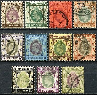 Hong Kong 1903 issue, SG 62 - 72, used, CV £150