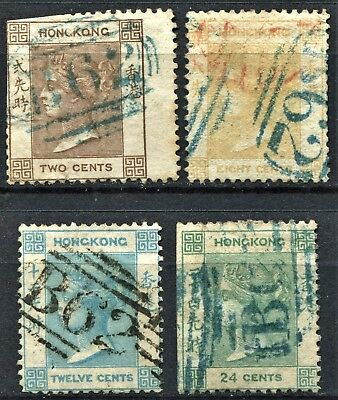 Hong Kong 1862 issue, SG 1, 2, 3 & 5, used - some with obvious faults, CV £385
