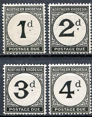 Northern Rhodesia 1929 Dues SG D1 - D4, Mint Hinged & Never Hinged, CV £23