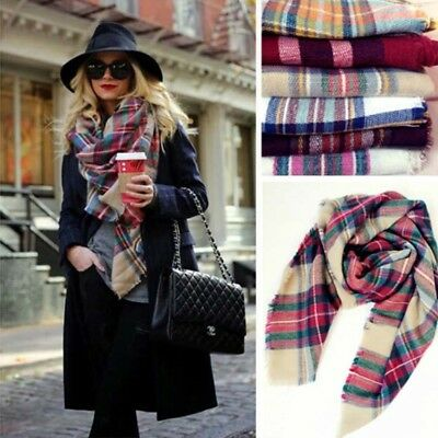 Women Tartan check Blanket Scarf knitted Wrap Scottish Shawl oversized gift men