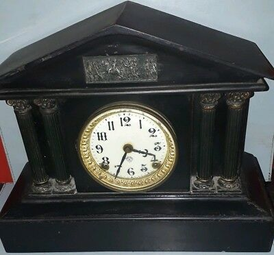 Large Antique Black Marble Ansonia American Clock Movement Working