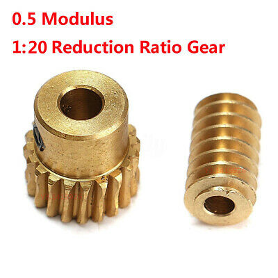 0.5 Modulus 1:10 Reduction Ratio 20Tooth Gear Motor Brass Copper Worm Wheel Gear
