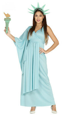 Ladies Statue of Liberty Fancy Dress Costume USA 4th July Outfit 10-12 14-16 NEW