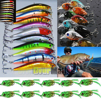 30 Kinds of Fishing Lures Crankbaits Hooks Minnow Baits Tackle Crank Set 2019 US