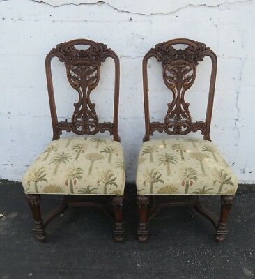 Heavy Hand Carved Walnut Early 1900's Pair of Dining Side Chairs 7768A