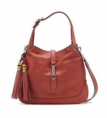 Gucci Jackie With Bamboo Tassel Large Pink Coral Leather Shoulder Bag NWT 3d6411cf6d75c