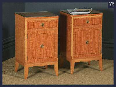 Pair of Georgian Neoclassical Style Satinwood Bedside Cabinet Tables Nightstands