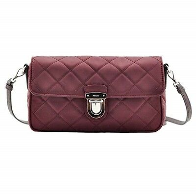 1a267389265e Prada Tessuto Impuntu Pattina Quilted Nylon Shoulder Bag Burgundy BT1025