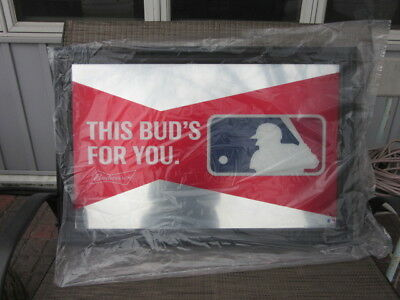 Budweiser Beer Sign New Mirror Mlb Baseball Back Bar Wall Game Room Tavern Pub