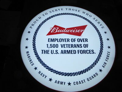 Budweiser Beer Sign Light Up For Military Army Marines Navy Coast Guard Led New