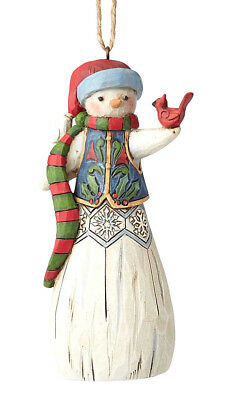 Jim Shore*FOLKLORE SNOWMAN with CARDINAL ORNAMENT*New 2018*NIB*Christmas*6001453