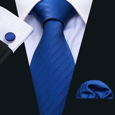 UK  Classic Blue Solid Color Plain Mens Tie Necktie Silk Jacquard Woven Wedding