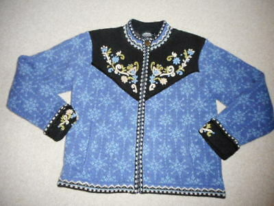 d200e6ffa60b ICELANDIC DESIGN WOMENS Cardigan Sweater Southwest Wool Large Blue ...
