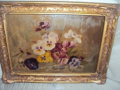 Antique Signed Oil Painting Still Life Floral Pansies 1889