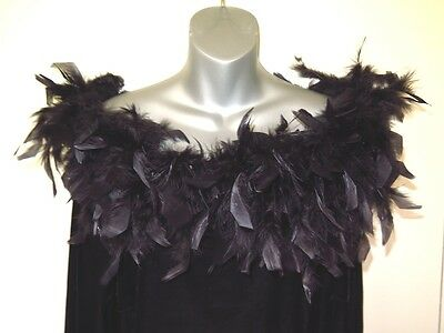 5871718f124db Black Velvet With Marabou Feathers Blouse Top Onyx Nite Womens Plus Size 3X