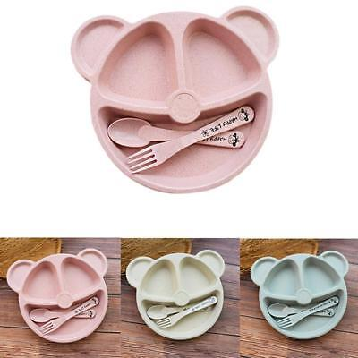 Baby Plate Set Children Cartoon Food Dishes Wheat Straw Baby Bowl Spoon Fork