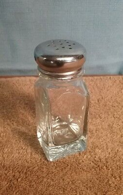 vintage glass and stainless steel salt or pepper shaker