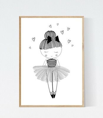 Cute Ballet Ballerina Modern Black White Nursery Print Kids Wall Art Picture