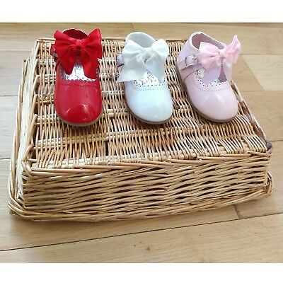 Girls Baby Childrens Kids Christening Wedding Ribbon Bow Party Patent Shoes Size