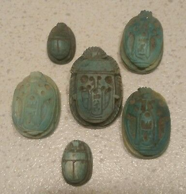 Ancient Faience Egyptian Scarab Beatle Beads
