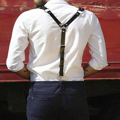 Adjustable Leather Shirt Braces Mens Womens Trouser Suspenders