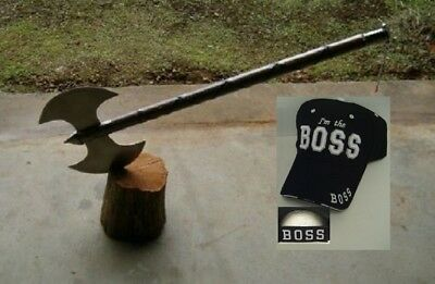 "30"" Medieval Double Edge Battle / Executioners Axe +Free I'm The Boss Cap"