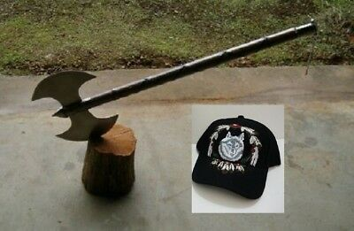 "Embroidered Wolf Cap+Large  30"" Medieval Double Edge Battle / Executioners Axe"