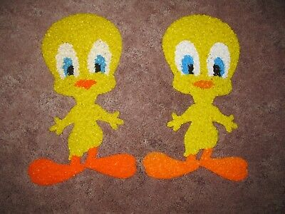 2 Vintage Melted Plastic Popcorn Yellow Tweety Birds Holiday Decorations
