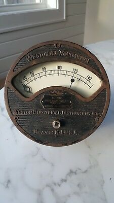 Antique A.C Weston Voltmeter made by Weston Electrical Instrument Co. Newark, NJ