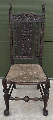 Antique Arts & Crafts Rush-Seated Country Chair with Carved Oak Back