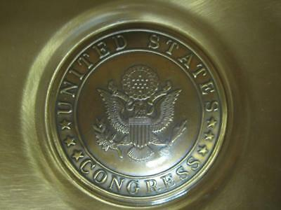 Vintage United States Congress Spin-Craft Brass & Glass Business Card Mint Plate