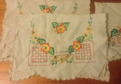 30s 40s Beautiful Vintage Hand Embroidered Set 2 Chair & Sofa Back Covers Floral